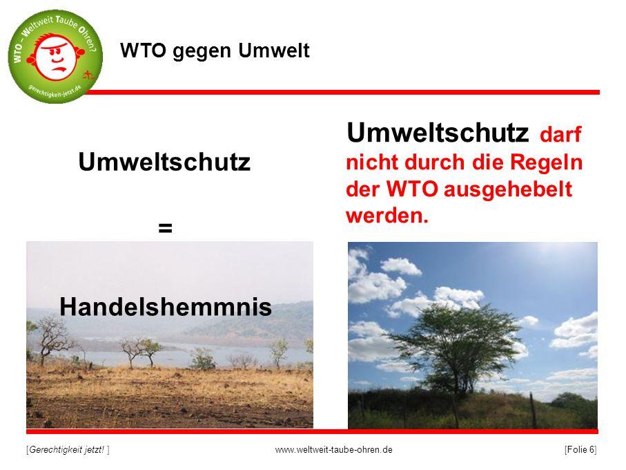 [Gerechtigkeit jetzt! ]www.weltweit-taube-ohren.de[Folie 6] Umweltschutz darf nicht durch die Regeln der WTO ausgehebelt werden. WTO gegen Umwelt Umwe