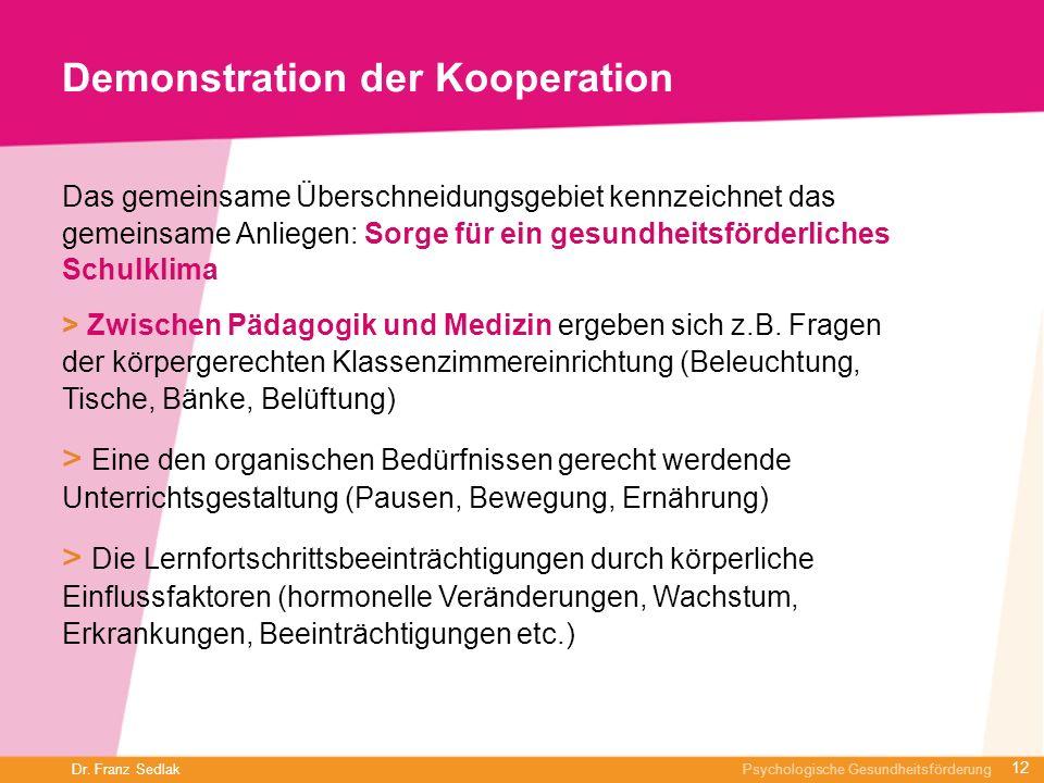 Dr. Franz Sedlak Psychologische Gesundheitsförderung Demonstration der Kooperation Das gemeinsame Überschneidungsgebiet kennzeichnet das gemeinsame An