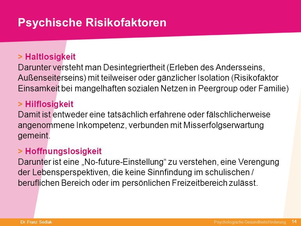 Dr. Franz Sedlak Psychologische Gesundheitsförderung Psychische Risikofaktoren > Haltlosigkeit Darunter versteht man Desintegriertheit (Erleben des An
