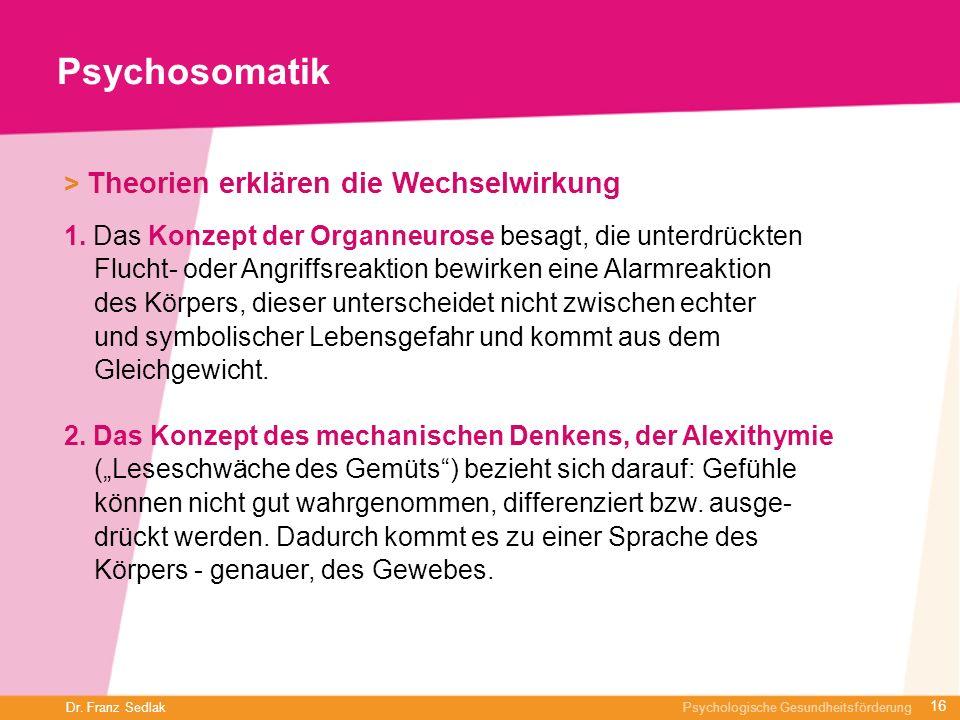 Dr. Franz Sedlak Psychologische Gesundheitsförderung Psychosomatik > Theorien erklären die Wechselwirkung 1. Das Konzept der Organneurose besagt, die