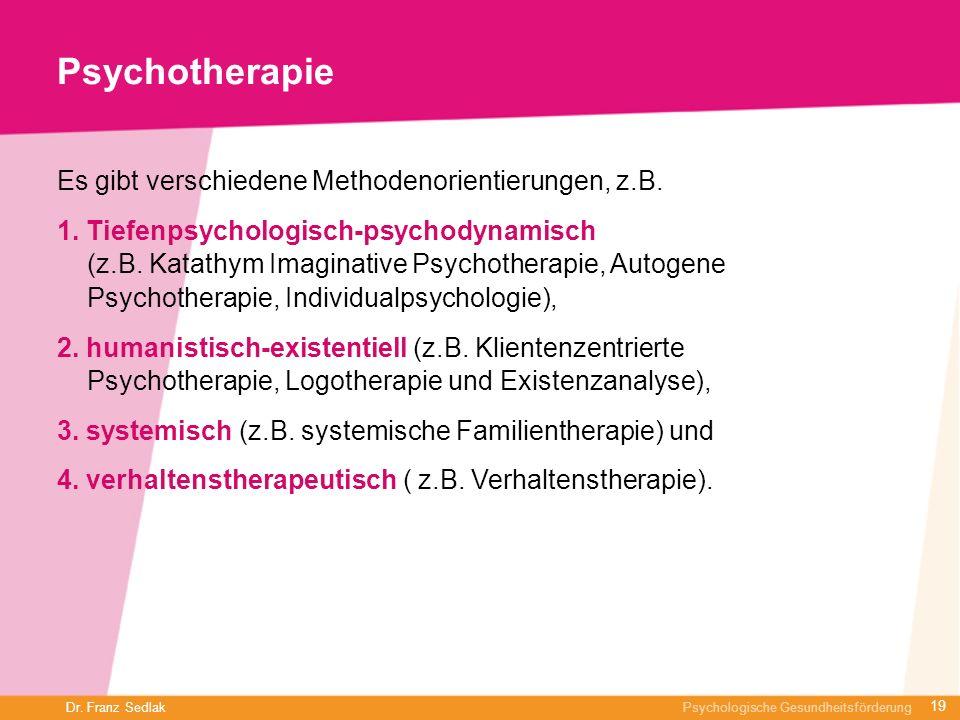 Dr. Franz Sedlak Psychologische Gesundheitsförderung Psychotherapie Es gibt verschiedene Methodenorientierungen, z.B. 1. Tiefenpsychologisch-psychodyn