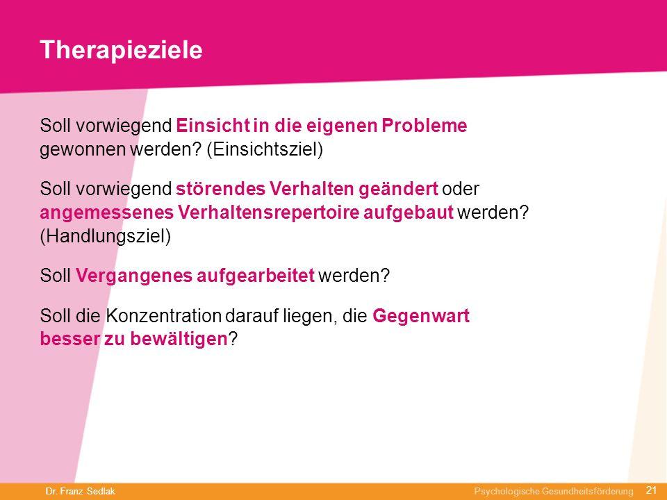 Dr. Franz Sedlak Psychologische Gesundheitsförderung Therapieziele Soll vorwiegend Einsicht in die eigenen Probleme gewonnen werden? (Einsichtsziel) S
