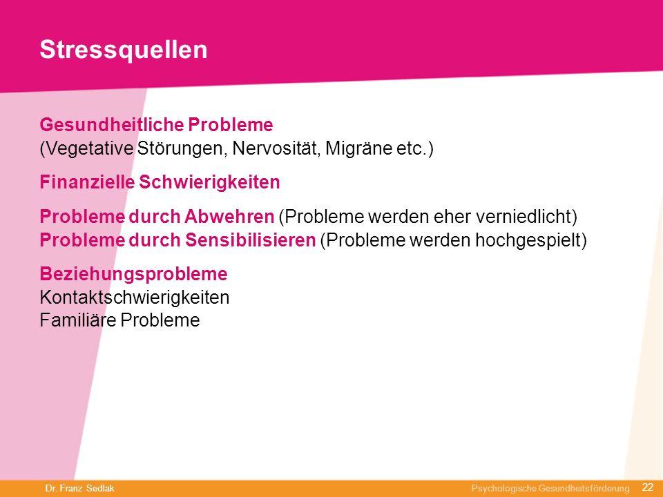 Dr. Franz Sedlak Psychologische Gesundheitsförderung Stressquellen Gesundheitliche Probleme (Vegetative Störungen, Nervosität, Migräne etc.) Finanziel