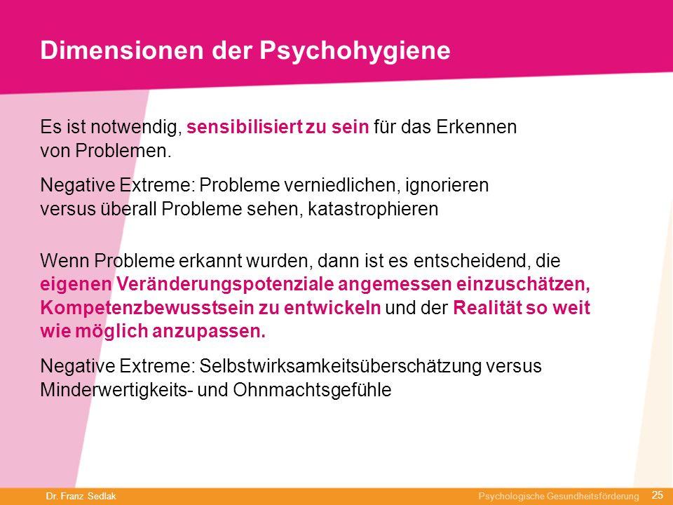 Dr. Franz Sedlak Psychologische Gesundheitsförderung Dimensionen der Psychohygiene Es ist notwendig, sensibilisiert zu sein für das Erkennen von Probl