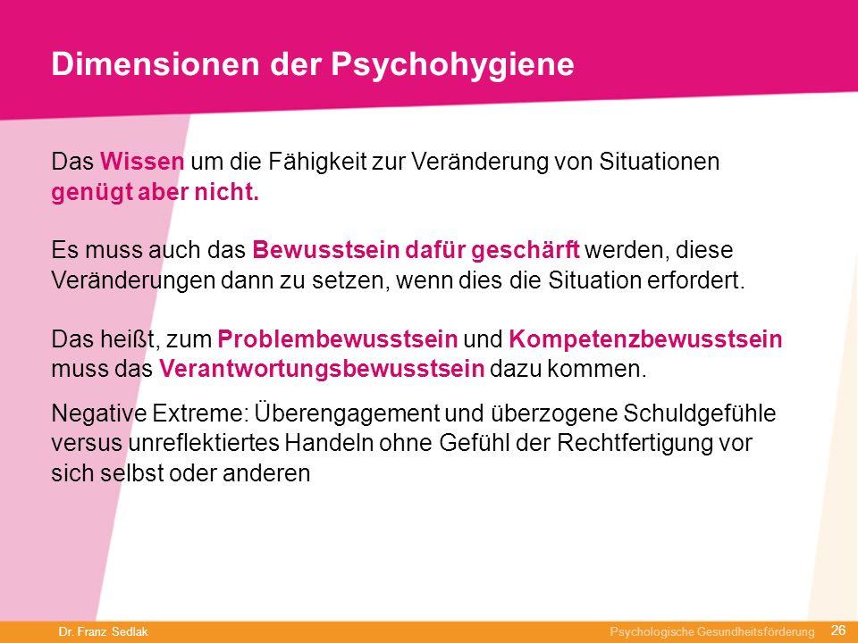 Dr. Franz Sedlak Psychologische Gesundheitsförderung Dimensionen der Psychohygiene Das Wissen um die Fähigkeit zur Veränderung von Situationen genügt