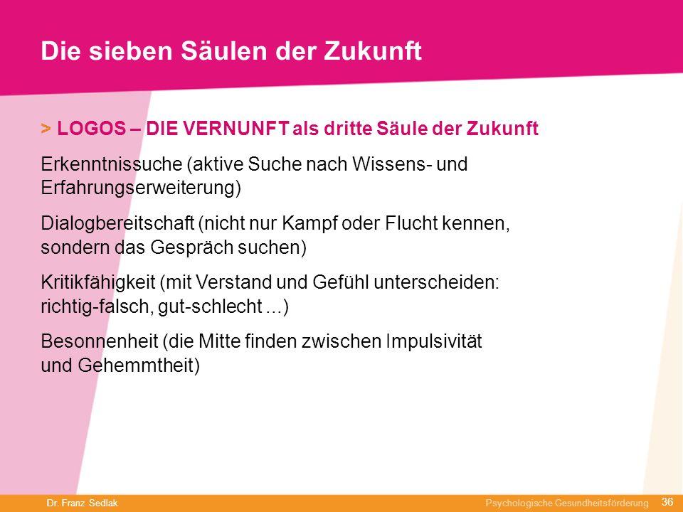 Dr. Franz Sedlak Psychologische Gesundheitsförderung Die sieben Säulen der Zukunft > LOGOS – DIE VERNUNFT als dritte Säule der Zukunft Erkenntnissuche