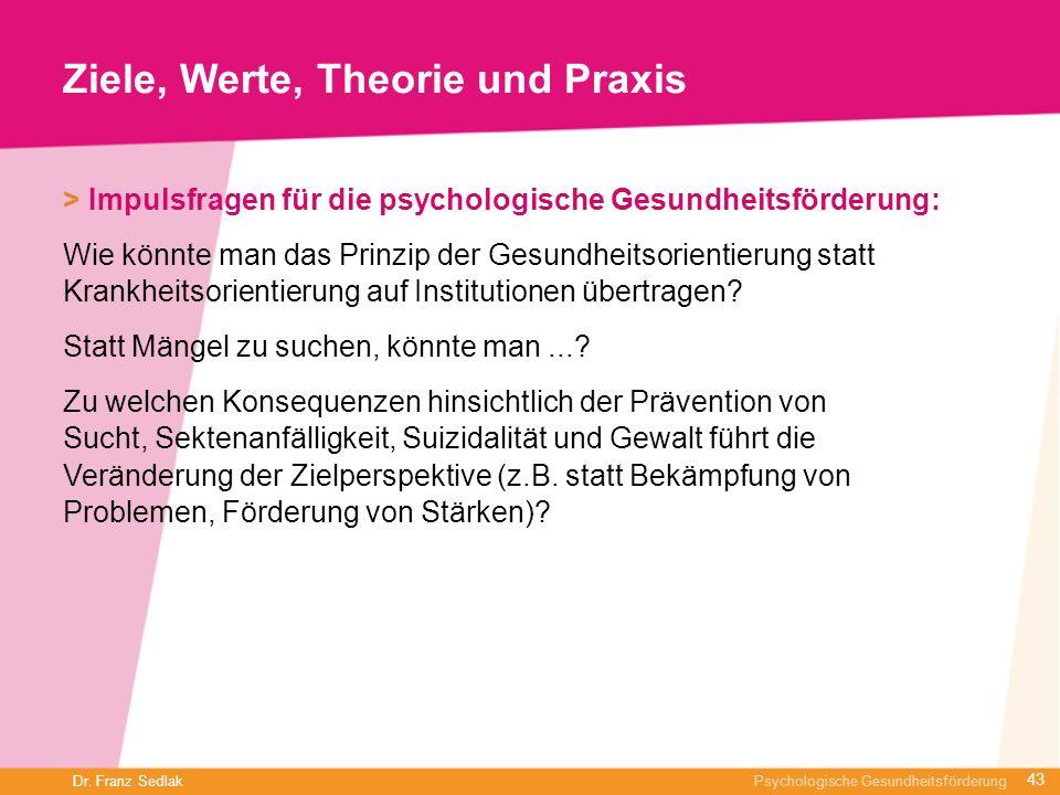 Dr. Franz Sedlak Psychologische Gesundheitsförderung Ziele, Werte, Theorie und Praxis > Impulsfragen für die psychologische Gesundheitsförderung: Wie