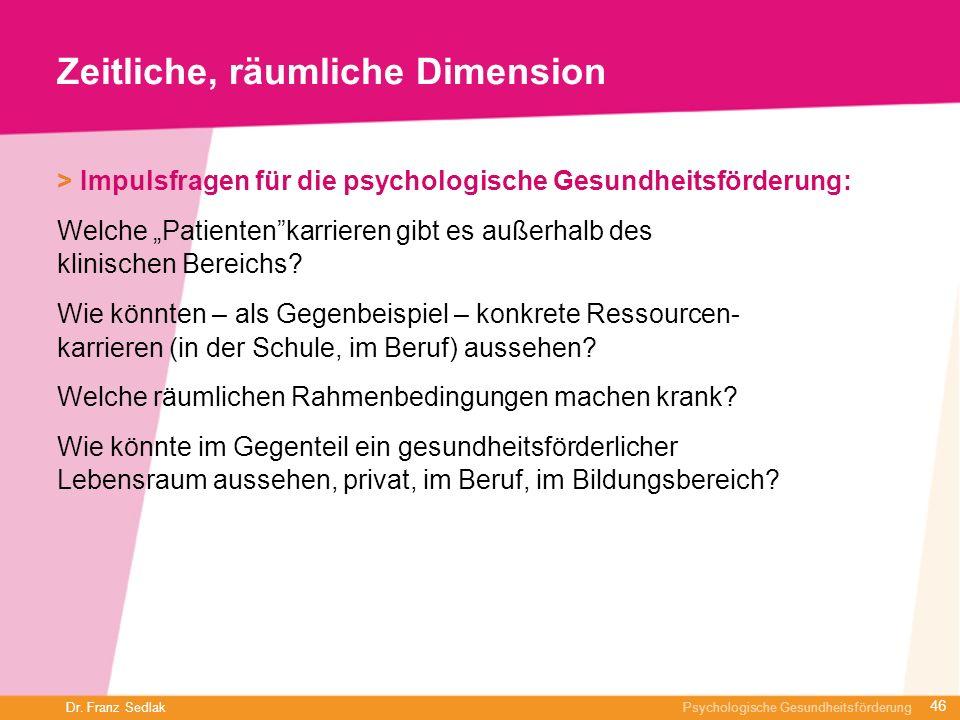 Dr. Franz Sedlak Psychologische Gesundheitsförderung Zeitliche, räumliche Dimension > Impulsfragen für die psychologische Gesundheitsförderung: Welche