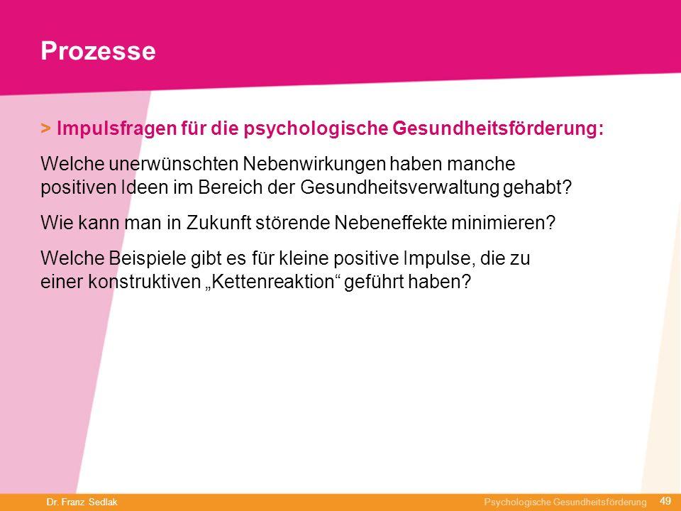 Dr. Franz Sedlak Psychologische Gesundheitsförderung Prozesse > Impulsfragen für die psychologische Gesundheitsförderung: Welche unerwünschten Nebenwi