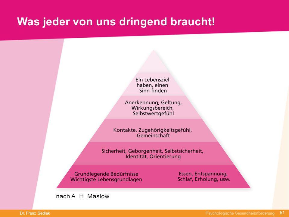 Dr. Franz Sedlak Psychologische Gesundheitsförderung Was jeder von uns dringend braucht! nach A. H. Maslow 51