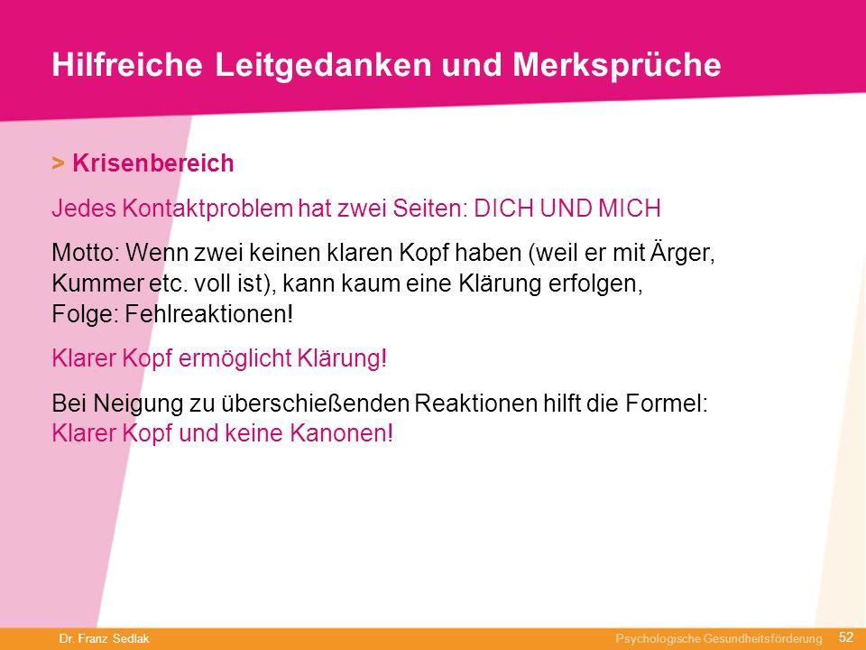 Dr. Franz Sedlak Psychologische Gesundheitsförderung Hilfreiche Leitgedanken und Merksprüche > Krisenbereich Jedes Kontaktproblem hat zwei Seiten: DIC