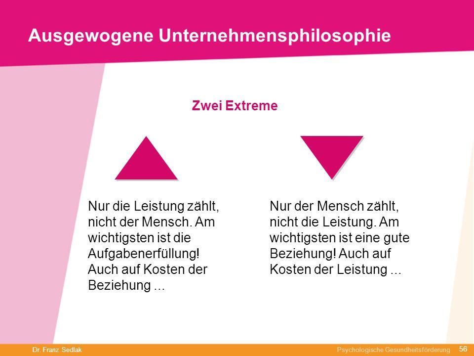 Dr. Franz Sedlak Psychologische Gesundheitsförderung Ausgewogene Unternehmensphilosophie Zwei Extreme Nur die Leistung zählt, nicht der Mensch. Am wic