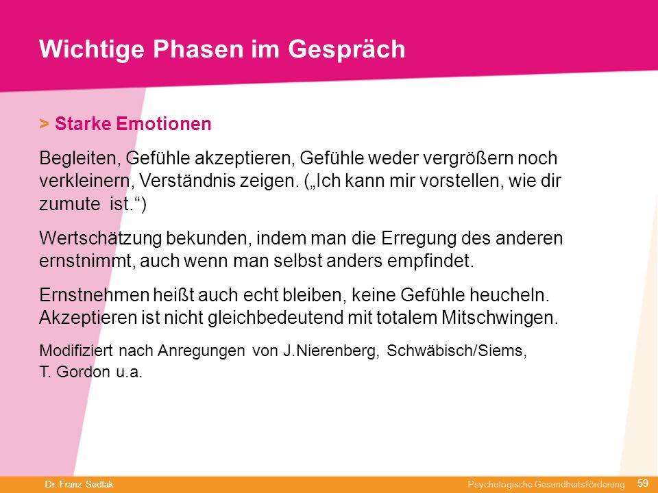Dr. Franz Sedlak Psychologische Gesundheitsförderung Wichtige Phasen im Gespräch > Starke Emotionen Begleiten, Gefühle akzeptieren, Gefühle weder verg