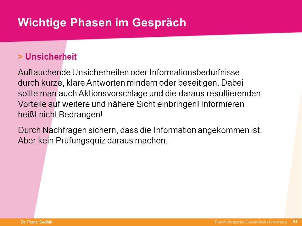 Dr. Franz Sedlak Psychologische Gesundheitsförderung Wichtige Phasen im Gespräch > Unsicherheit Auftauchende Unsicherheiten oder Informationsbedürfnis
