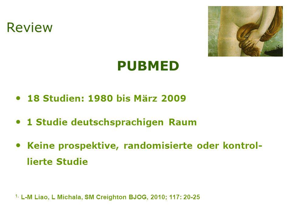 PUBMED 18 Studien: 1980 bis März 2009 1 Studie deutschsprachigen Raum Keine prospektive, randomisierte oder kontrol- lierte Studie 1.