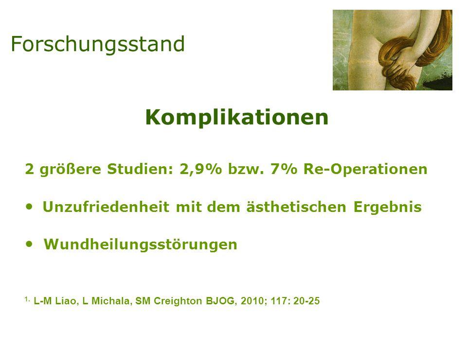 Komplikationen 2 größere Studien: 2,9% bzw. 7% Re-Operationen Unzufriedenheit mit dem ästhetischen Ergebnis Wundheilungsstörungen 1. L-M Liao, L Micha