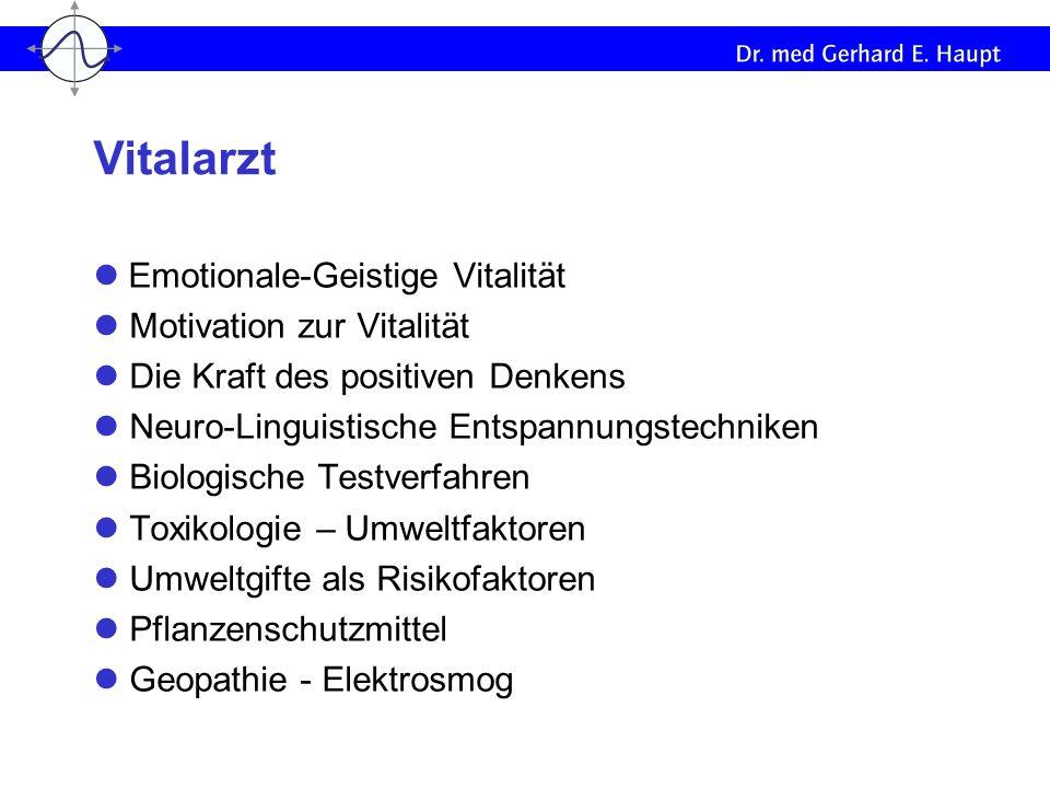 Emotionale-Geistige Vitalität Motivation zur Vitalität Die Kraft des positiven Denkens Neuro-Linguistische Entspannungstechniken Biologische Testverfa