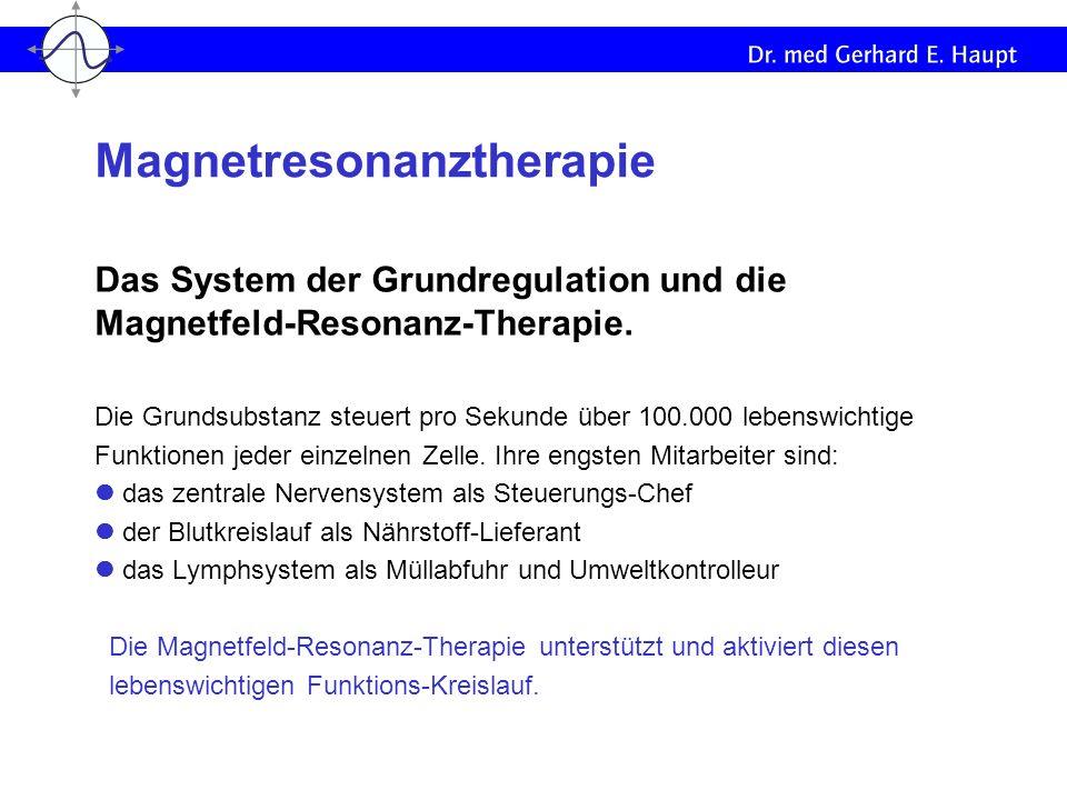 Das System der Grundregulation und die Magnetfeld-Resonanz-Therapie. Die Grundsubstanz steuert pro Sekunde über 100.000 lebenswichtige Funktionen jede