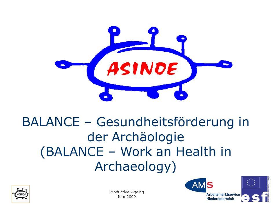 Productive Ageing Juni 2009 1 BALANCE – Gesundheitsförderung in der Archäologie (BALANCE – Work an Health in Archaeology)