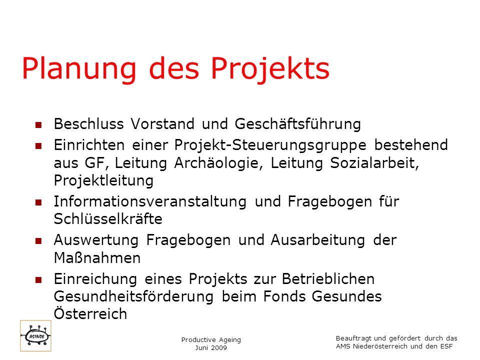 Productive Ageing Juni 2009 Planung des Projekts Beschluss Vorstand und Geschäftsführung Einrichten einer Projekt-Steuerungsgruppe bestehend aus GF, L