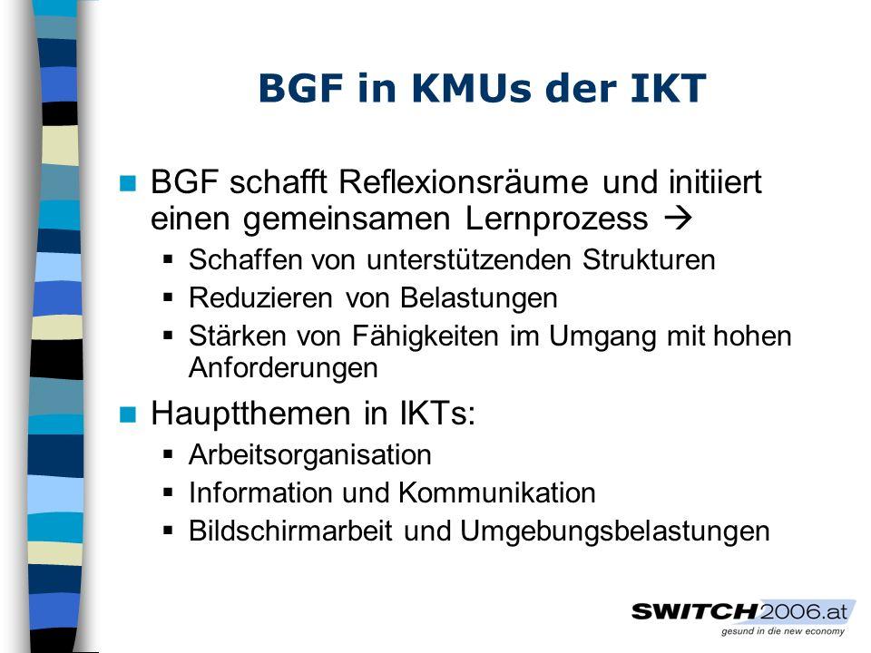 BGF in KMUs der IKT BGF schafft Reflexionsräume und initiiert einen gemeinsamen Lernprozess Schaffen von unterstützenden Strukturen Reduzieren von Belastungen Stärken von Fähigkeiten im Umgang mit hohen Anforderungen Hauptthemen in IKTs: Arbeitsorganisation Information und Kommunikation Bildschirmarbeit und Umgebungsbelastungen