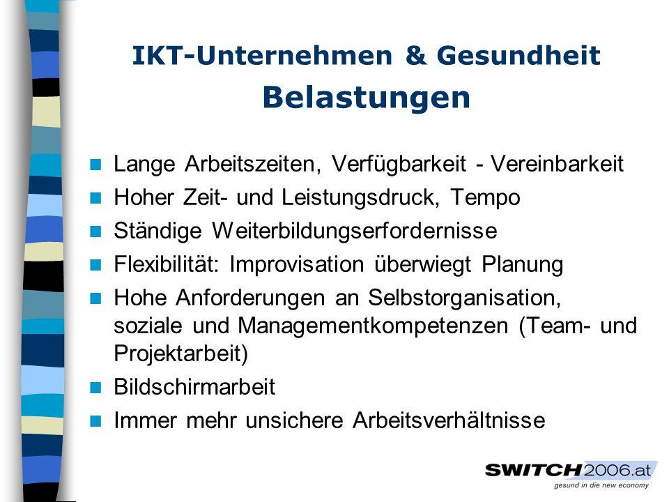 IKT-Unternehmen & Gesundheit Belastungen Lange Arbeitszeiten, Verfügbarkeit - Vereinbarkeit Hoher Zeit- und Leistungsdruck, Tempo Ständige Weiterbildu