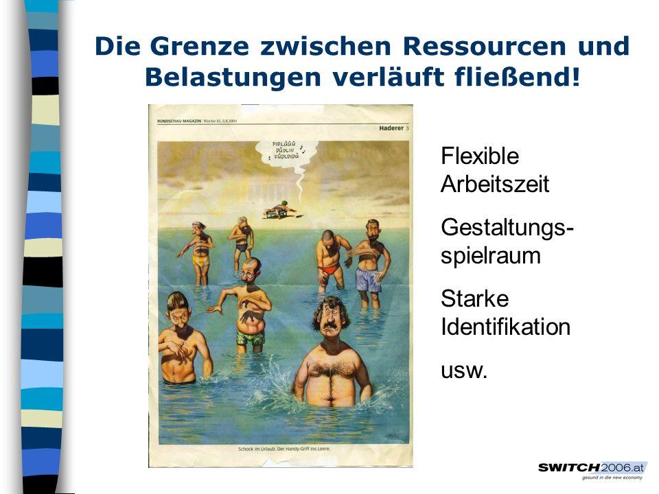 Die Grenze zwischen Ressourcen und Belastungen verläuft fließend! Flexible Arbeitszeit Gestaltungs- spielraum Starke Identifikation usw.