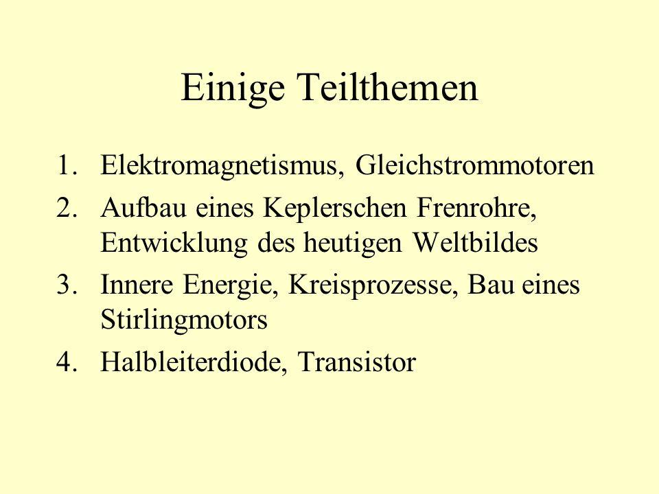 Einige Teilthemen 1.Elektromagnetismus, Gleichstrommotoren 2.Aufbau eines Keplerschen Frenrohre, Entwicklung des heutigen Weltbildes 3.Innere Energie, Kreisprozesse, Bau eines Stirlingmotors 4.Halbleiterdiode, Transistor