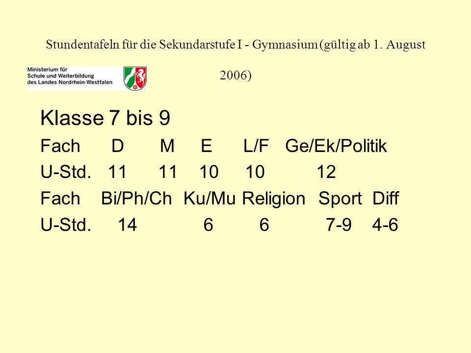 Stundentafeln für die Sekundarstufe I - Gymnasium (gültig ab 1.