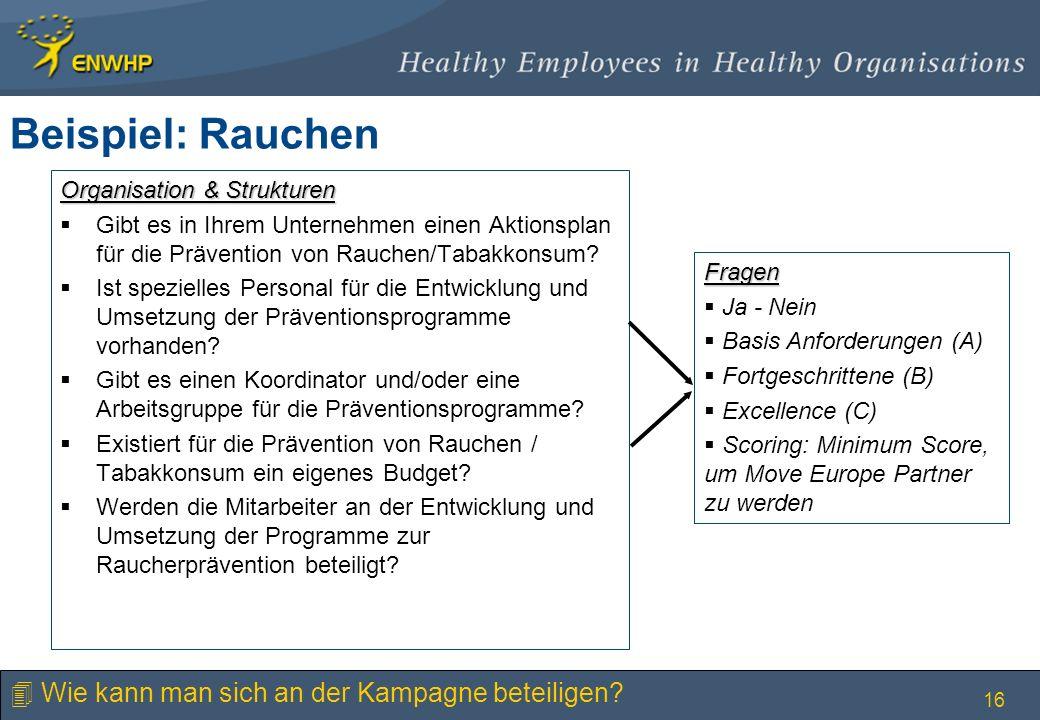 16 Organisation & Strukturen Gibt es in Ihrem Unternehmen einen Aktionsplan für die Prävention von Rauchen/Tabakkonsum? Ist spezielles Personal für di