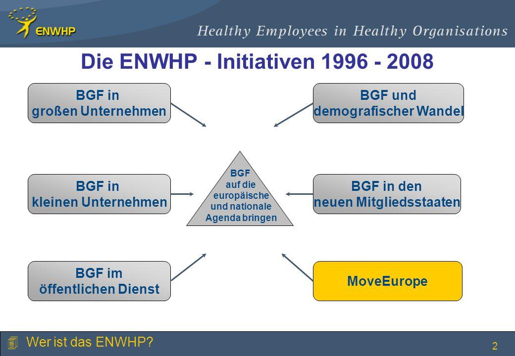 2 Die ENWHP - Initiativen 1996 - 2008 BGF in großen Unternehmen BGF in kleinen Unternehmen BGF im öffentlichen Dienst BGF und demografischer Wandel BG