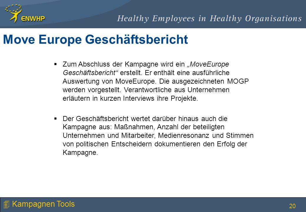 20 Move Europe Geschäftsbericht Zum Abschluss der Kampagne wird ein MoveEurope Geschäftsbericht erstellt. Er enthält eine ausführliche Auswertung von
