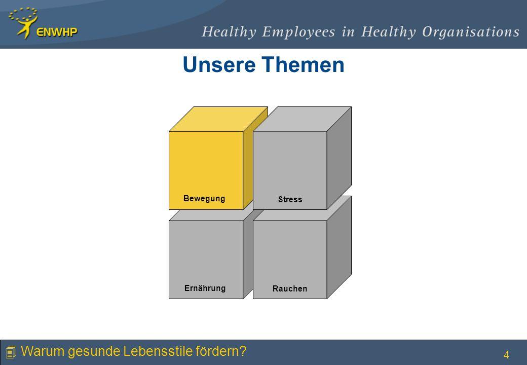 4 Stress Bewegung Rauchen Ernährung Stress Bewegung Unsere Themen 4 Warum gesunde Lebensstile fördern?