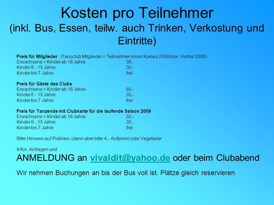 Kosten pro Teilnehmer (inkl.Bus, Essen, teilw.