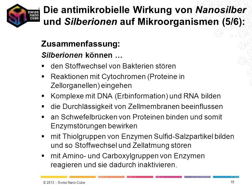© 2013 - Swiss Nano-Cube 19 Zusammenfassung: Silberionen können … den Stoffwechsel von Bakterien stören Reaktionen mit Cytochromen (Proteine in Zellor