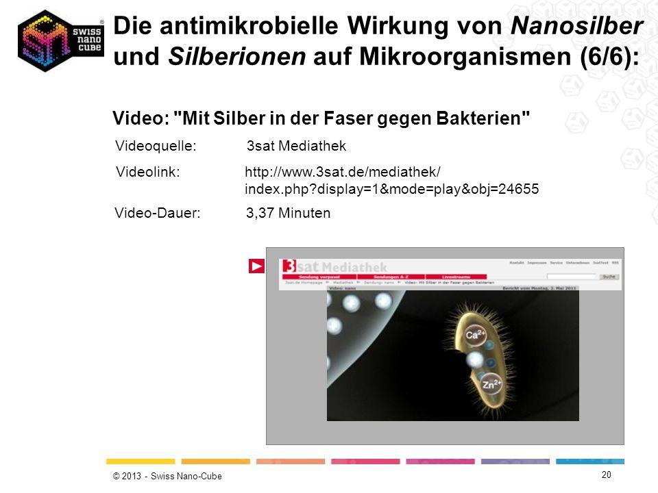 © 2013 - Swiss Nano-Cube 20 Die antimikrobielle Wirkung von Nanosilber und Silberionen auf Mikroorganismen (6/6): Video: