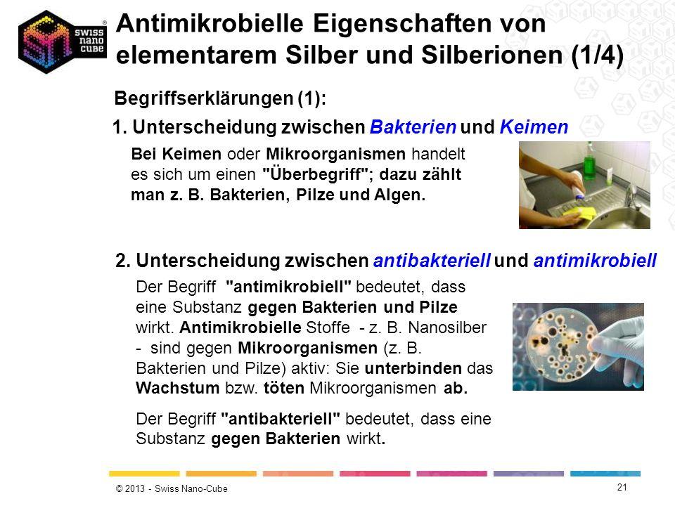 © 2013 - Swiss Nano-Cube 21 Begriffserklärungen (1): Antimikrobielle Eigenschaften von elementarem Silber und Silberionen (1/4) 1. Unterscheidung zwis