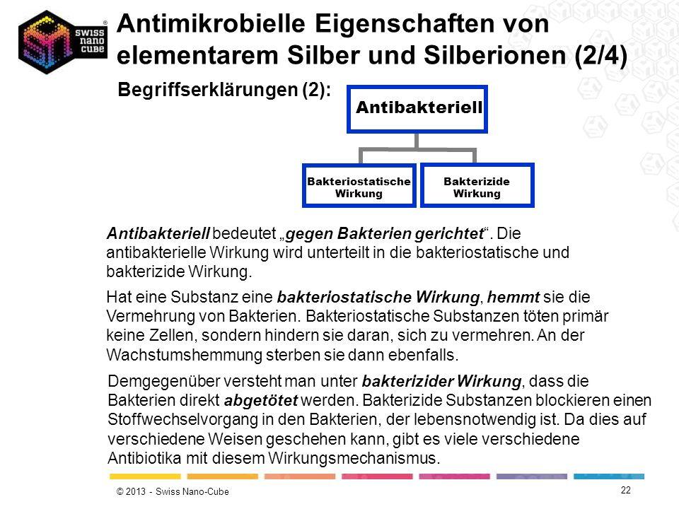 © 2013 - Swiss Nano-Cube 22 Begriffserklärungen (2): Antibakteriell bedeutet gegen Bakterien gerichtet. Die antibakterielle Wirkung wird unterteilt in