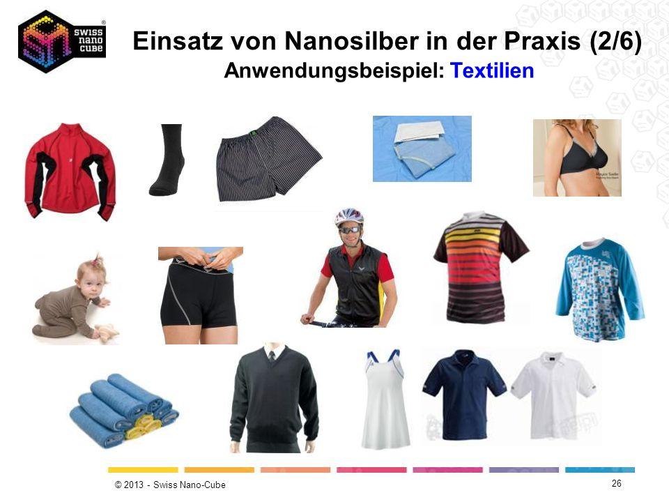 © 2013 - Swiss Nano-Cube 26 Einsatz von Nanosilber in der Praxis (2/6) Anwendungsbeispiel: Textilien
