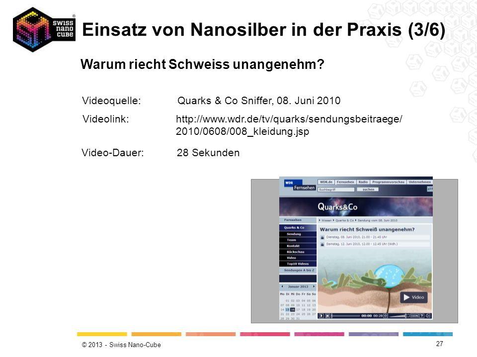 © 2013 - Swiss Nano-Cube 27 Warum riecht Schweiss unangenehm? Einsatz von Nanosilber in der Praxis (3/6) Videolink:http://www.wdr.de/tv/quarks/sendung