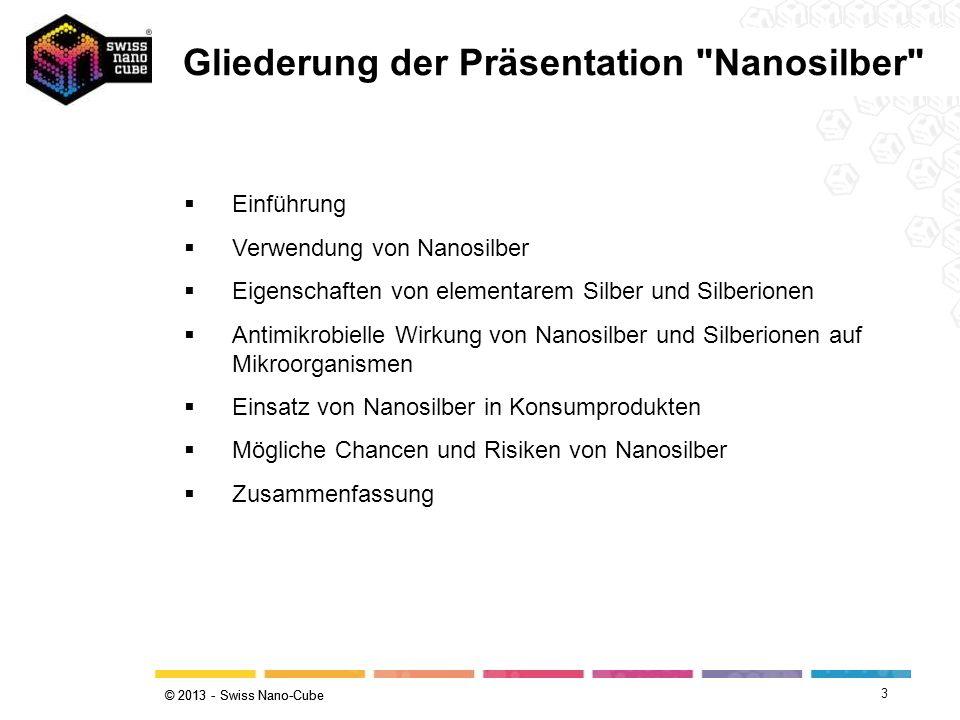 © 2013 - Swiss Nano-Cube 3 Gliederung der Präsentation