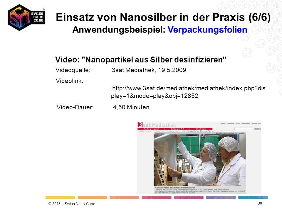 © 2013 - Swiss Nano-Cube 30 Video: