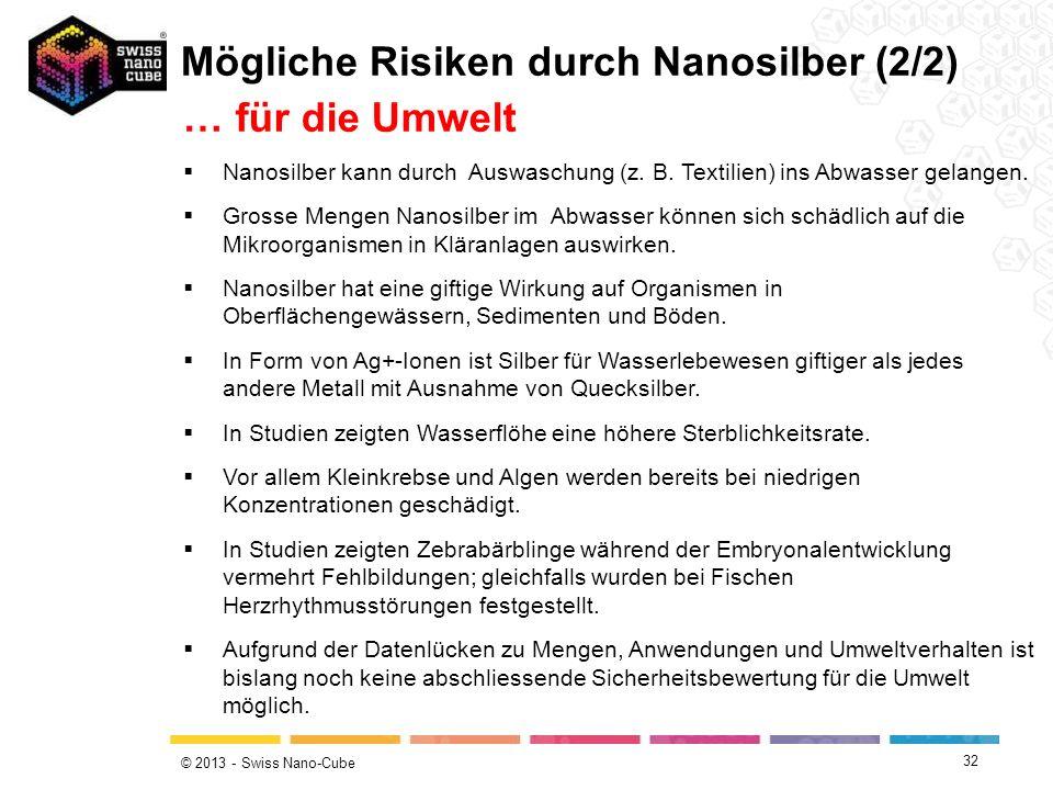 © 2013 - Swiss Nano-Cube 32 Nanosilber kann durch Auswaschung (z. B. Textilien) ins Abwasser gelangen. Grosse Mengen Nanosilber im Abwasser können sic