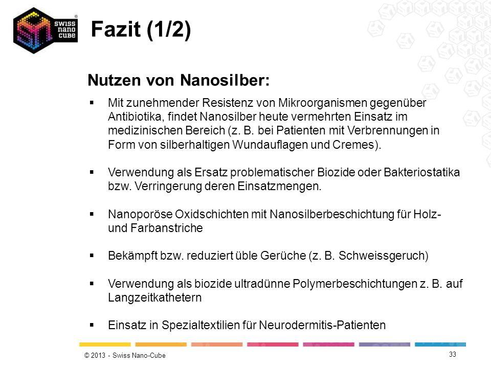 © 2013 - Swiss Nano-Cube 33 Mit zunehmender Resistenz von Mikroorganismen gegenüber Antibiotika, findet Nanosilber heute vermehrten Einsatz im medizin
