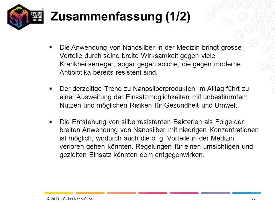 © 2013 - Swiss Nano-Cube 35 Die Anwendung von Nanosilber in der Medizin bringt grosse Vorteile durch seine breite Wirksamkeit gegen viele Krankheitser