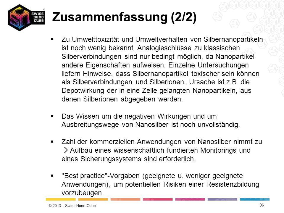 © 2013 - Swiss Nano-Cube Zu Umwelttoxizität und Umweltverhalten von Silbernanopartikeln ist noch wenig bekannt. Analogieschlüsse zu klassischen Silber