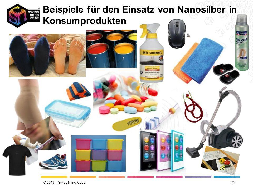 © 2013 - Swiss Nano-Cube Beispiele für den Einsatz von Nanosilber in Konsumprodukten 39