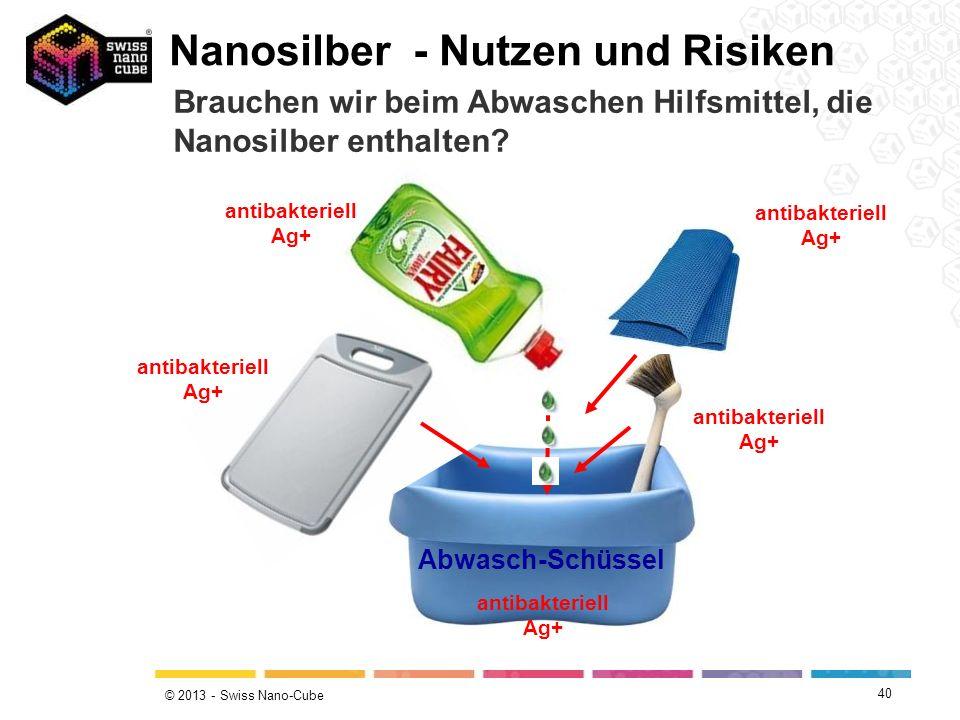 © 2013 - Swiss Nano-Cube antibakteriell Ag+ Abwasch-Schüssel Nanosilber - Nutzen und Risiken Brauchen wir beim Abwaschen Hilfsmittel, die Nanosilber e