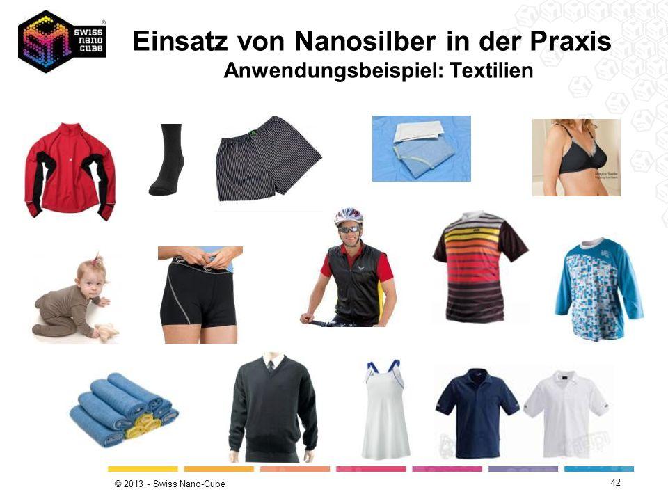 © 2013 - Swiss Nano-Cube Einsatz von Nanosilber in der Praxis Anwendungsbeispiel: Textilien 42