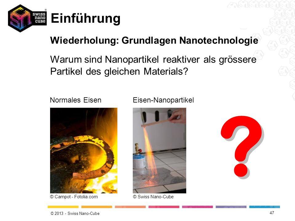 © 2013 - Swiss Nano-Cube Einführung Wiederholung: Grundlagen Nanotechnologie Warum sind Nanopartikel reaktiver als grössere Partikel des gleichen Mate